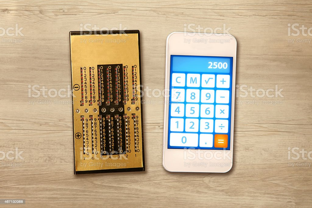 Technology evolution: comparing calculators almost one hundred years distant stock photo