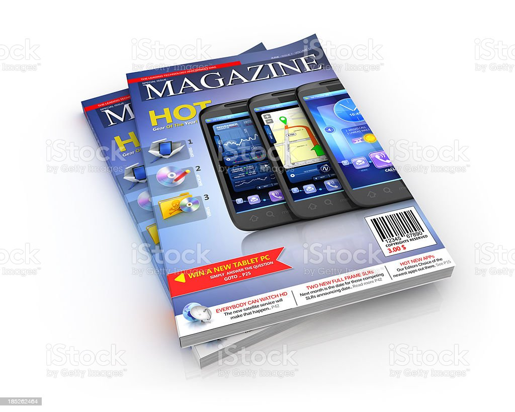 technology gadgets & news magazine stock photo