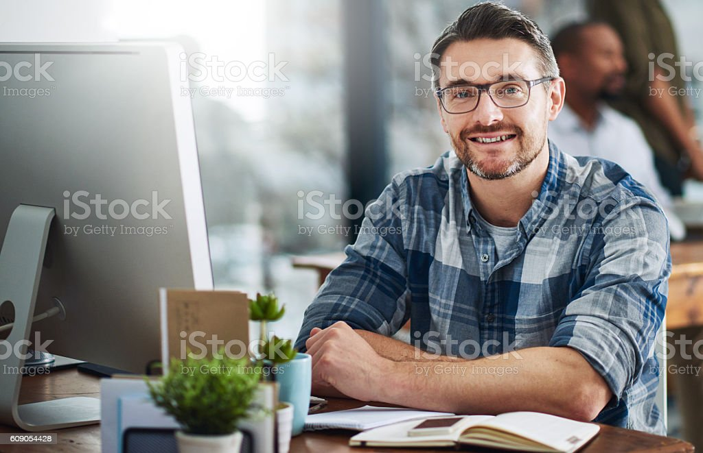 Technology helps me visualise all my plans stock photo