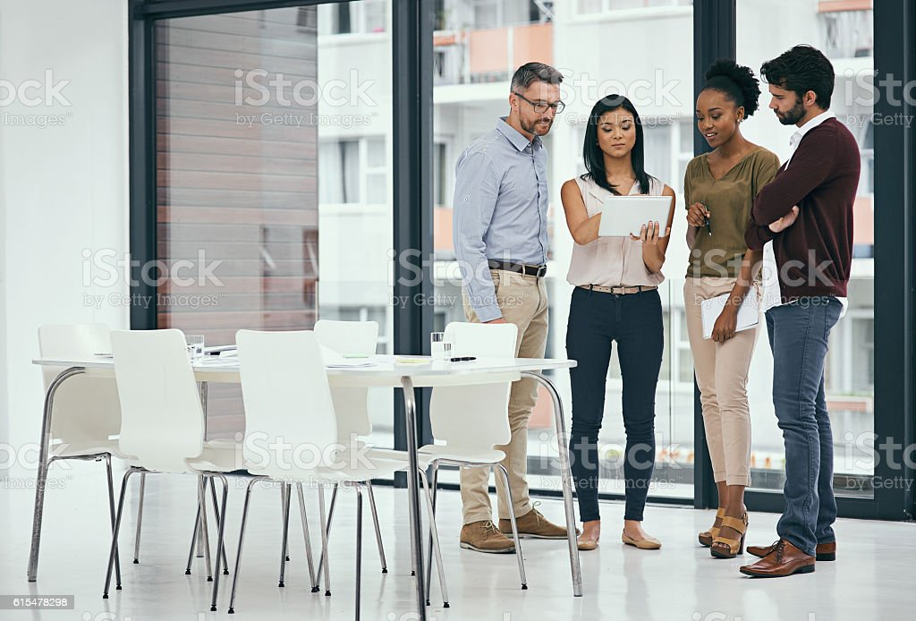 Technology helps them better understand and visualise their plans stock photo