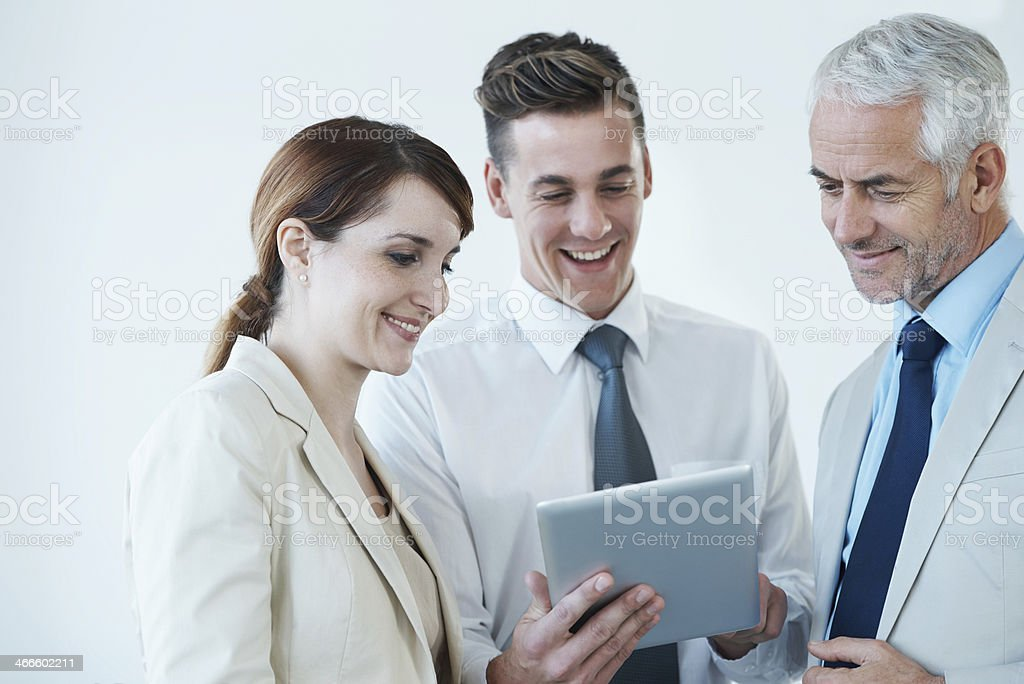 Technology helps us check business feedback any time anywhere royalty-free stock photo