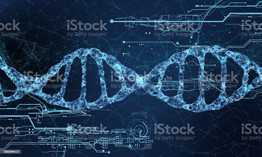 DNA technology hologram stock photo