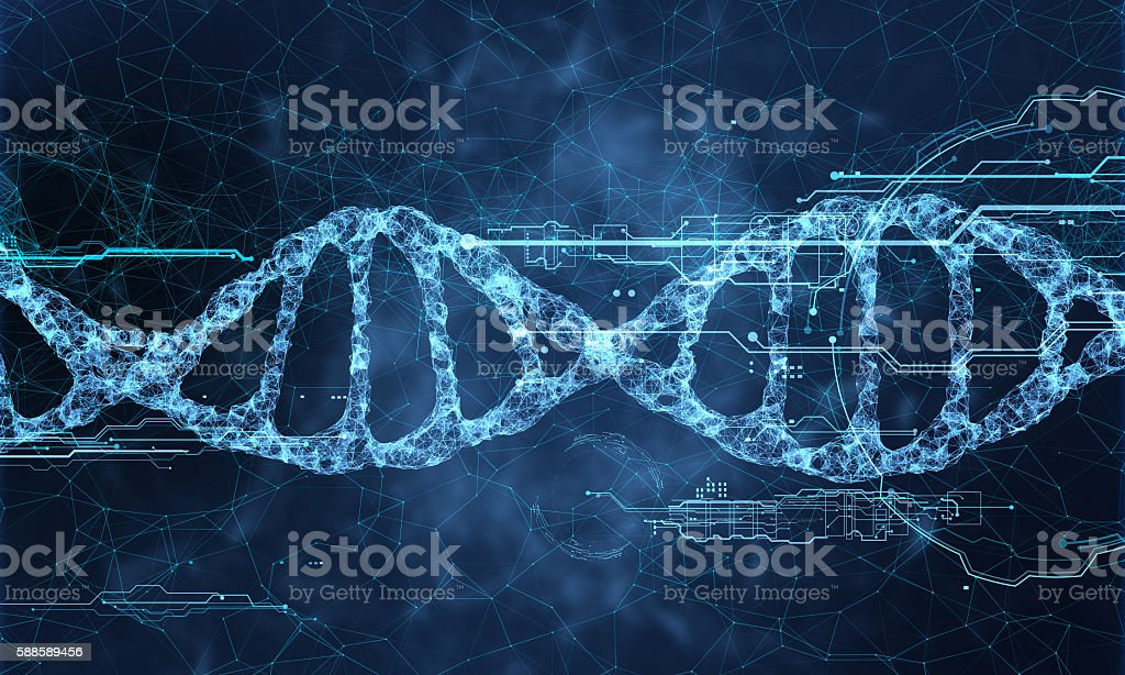 DNA technology hologram stock photo