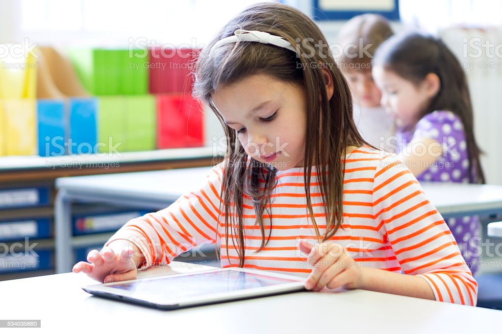 Technology in the classroom stock photo