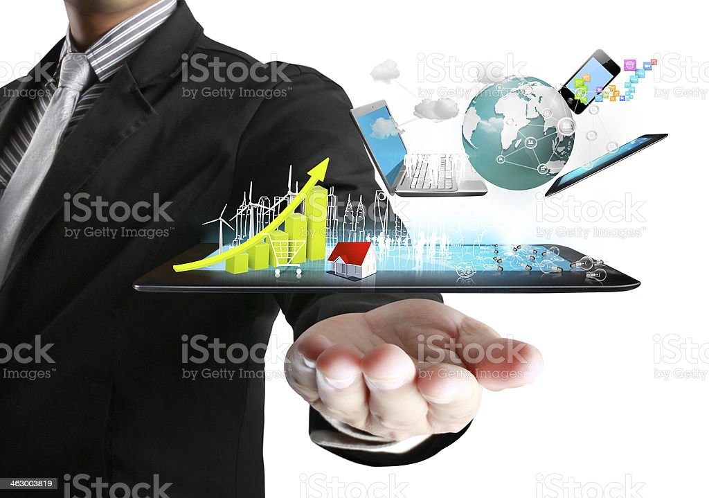 Technology in the hands royalty-free stock photo
