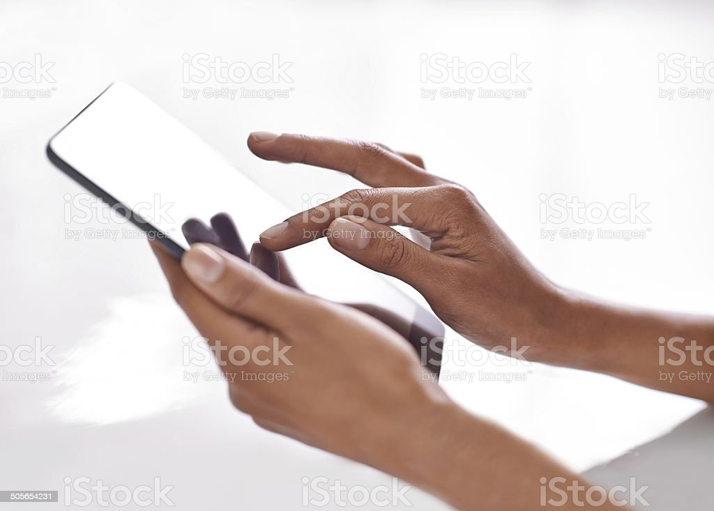 Technology is a touch away stock photo