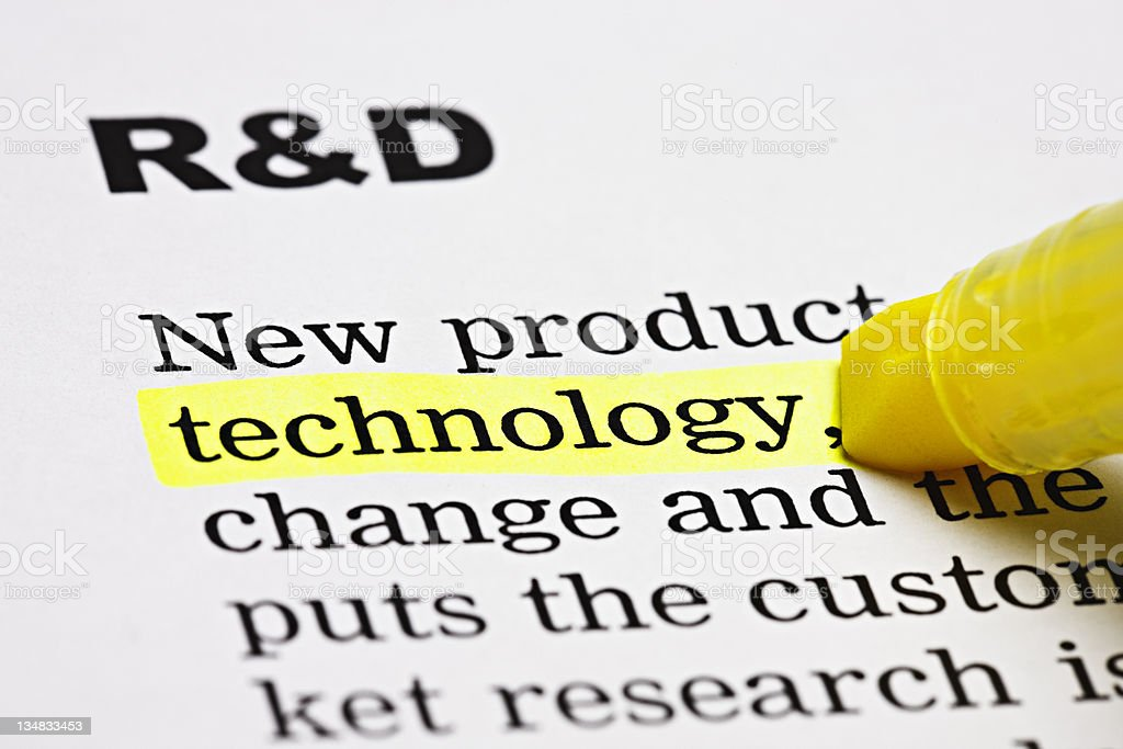 'Technology' is highlighted under the heading 'R & D' royalty-free stock photo