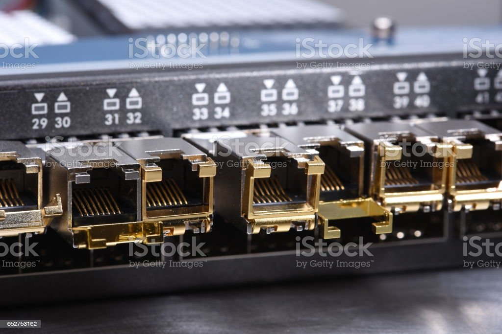 Technology IT, Switch with Ethernet Port Close up