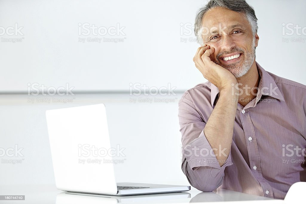 Technology makes my business so much easier! stock photo