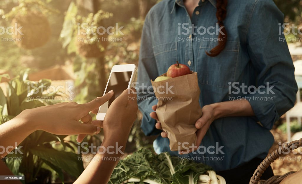 Technology makes purchases easy anytime and anywhere stock photo