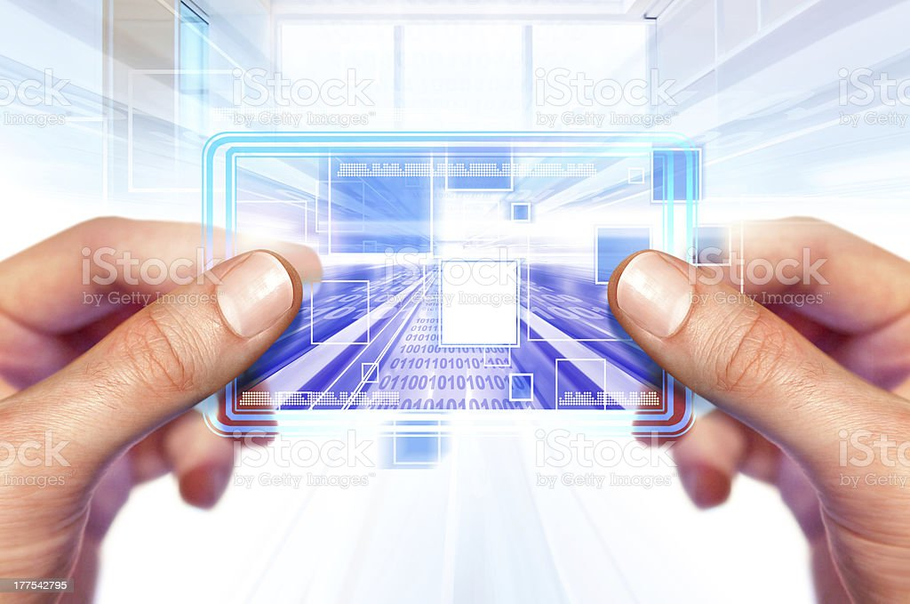 technology of future in hands royalty-free stock photo