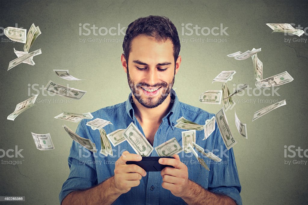 Technology online banking money transfer e-commerce concept stock photo