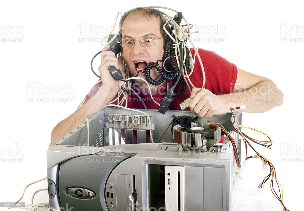 man in panic with his computer trying to reach hotline