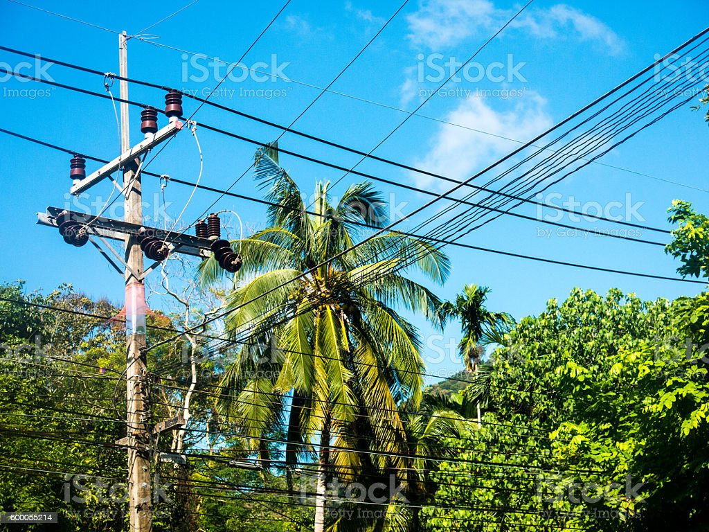 Technology Power Line Cable Electricity Wires Communications stock photo
