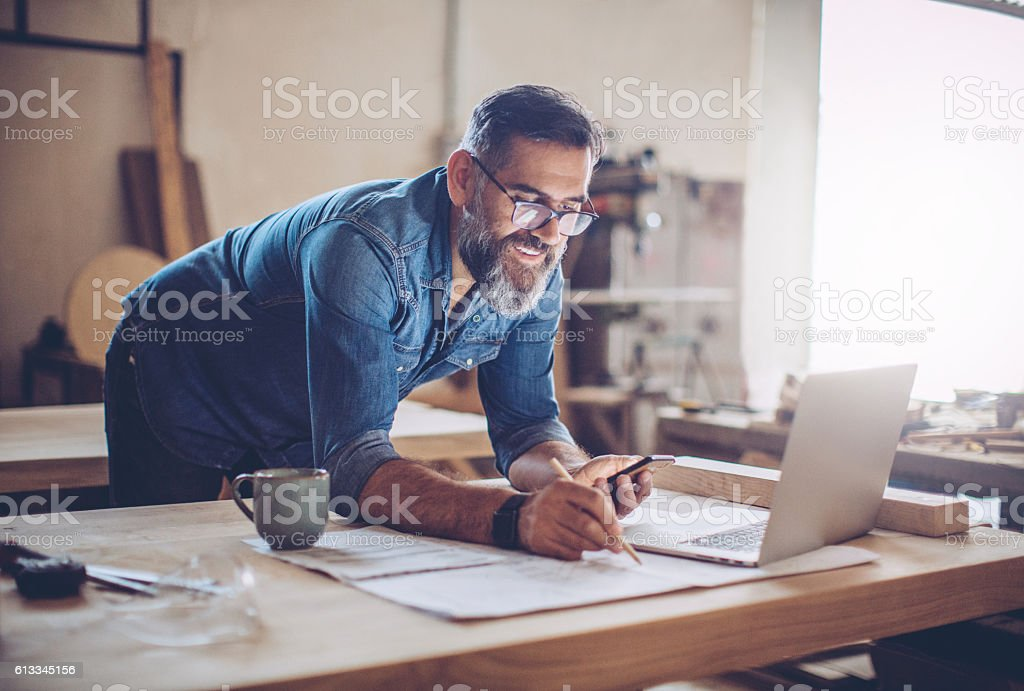 Technology was a huge help in this business stock photo