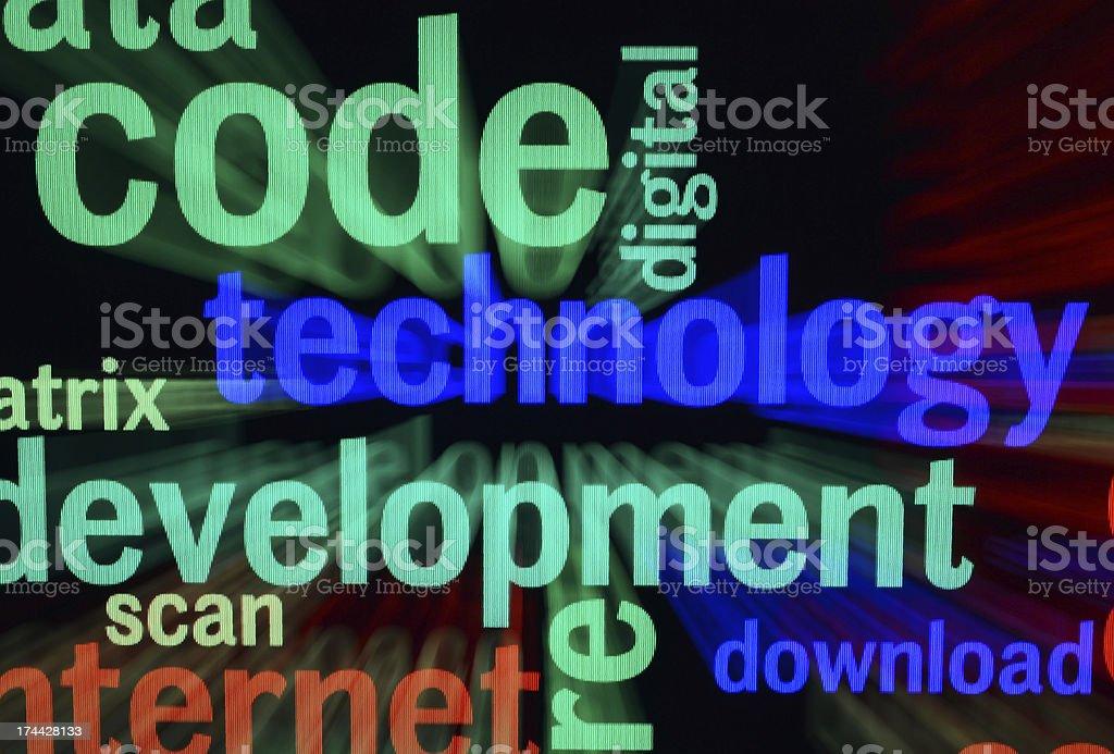 Technology word cloud stock photo