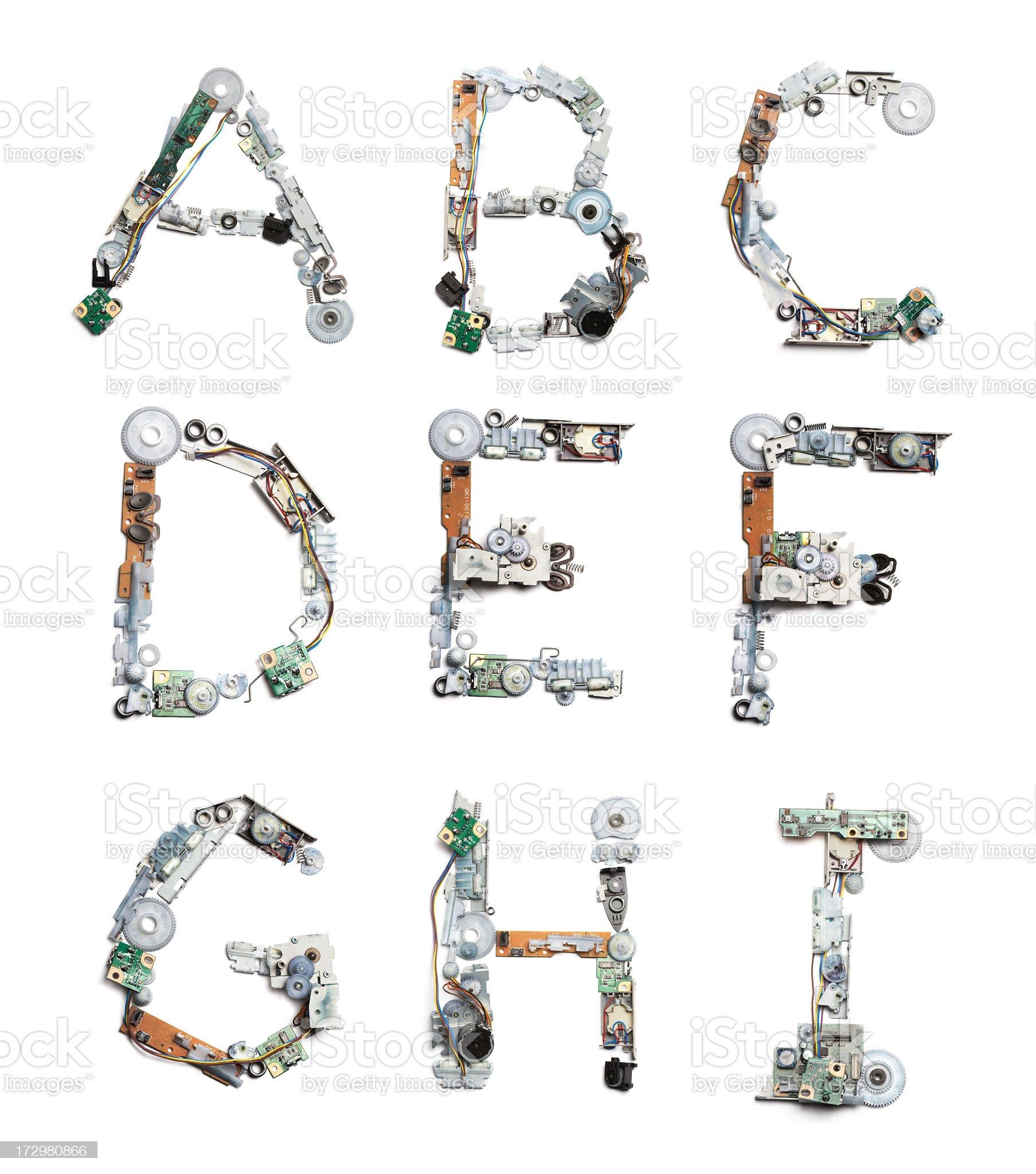 Techy Alphabet A-I  XXL royalty-free stock photo