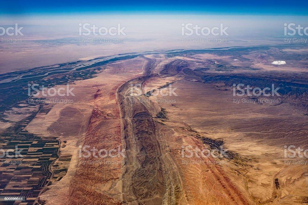 Tectonic plates and fault lines of Uzbekistan stock photo