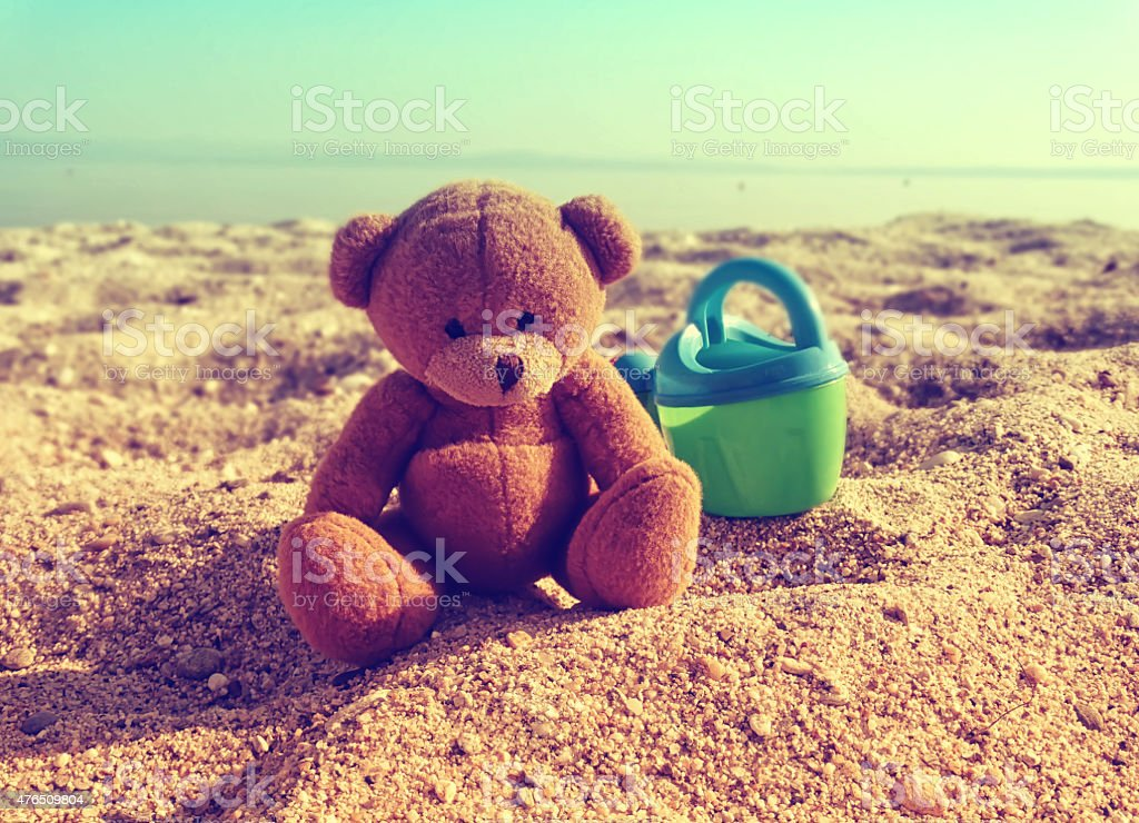 Teddy at the seaside stock photo