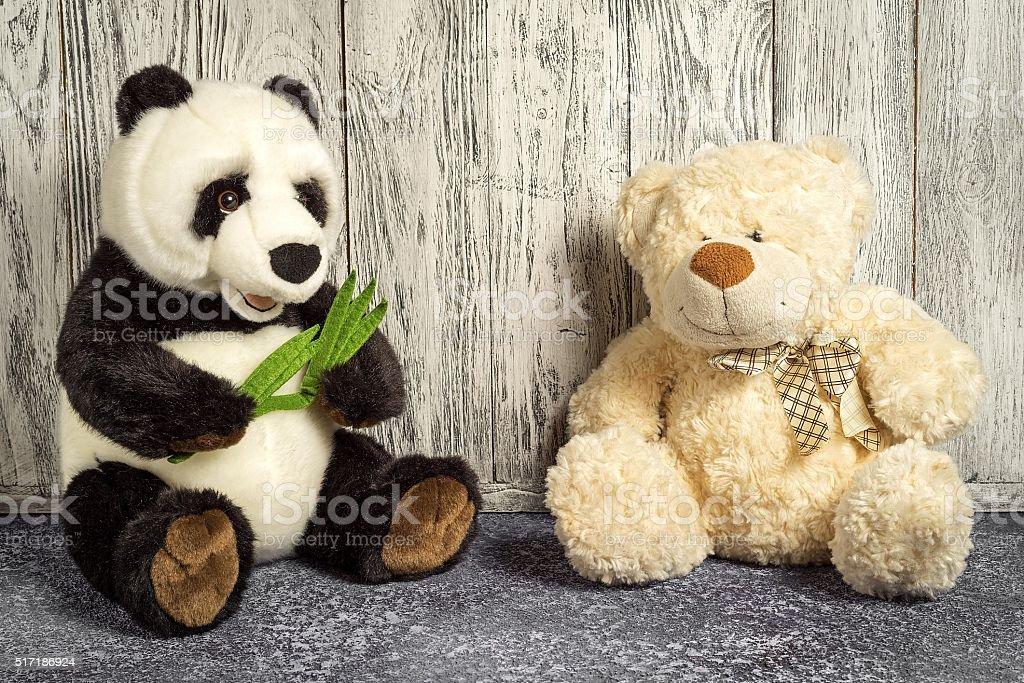 teddy bear and panda toys stock photo