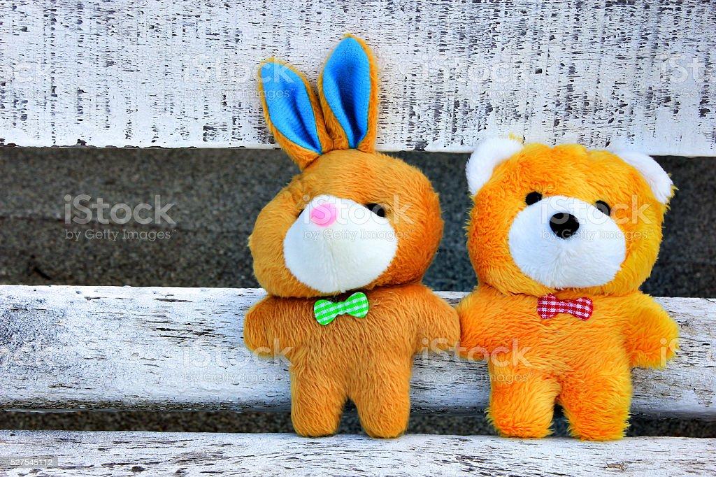 Teddy Bear and rabbit stock photo