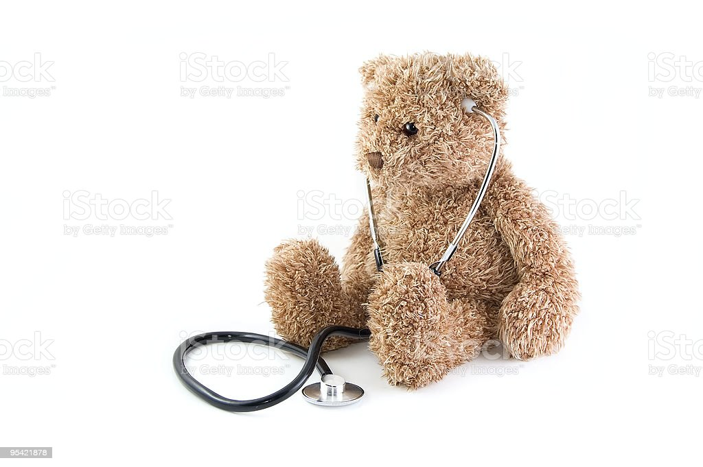 Teddy bear and stethoscope. royalty-free stock photo