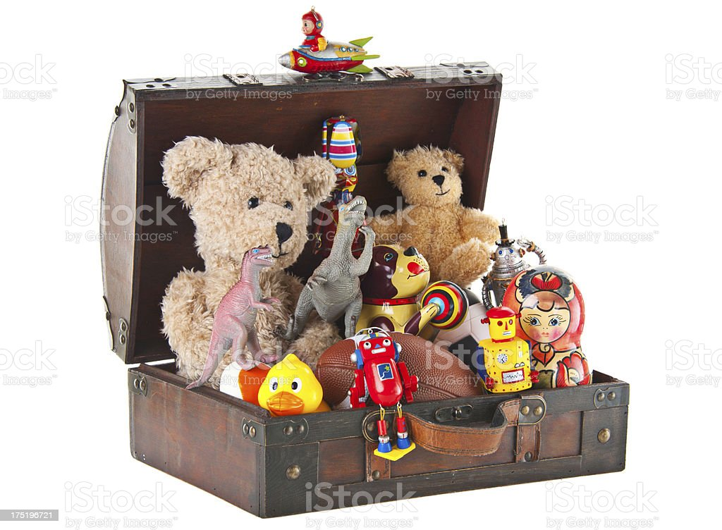 Teddy Bear and Toys in Small Suitcase royalty-free stock photo