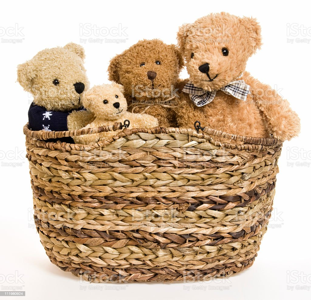 Teddy Bear Family in Picnic Basket stock photo