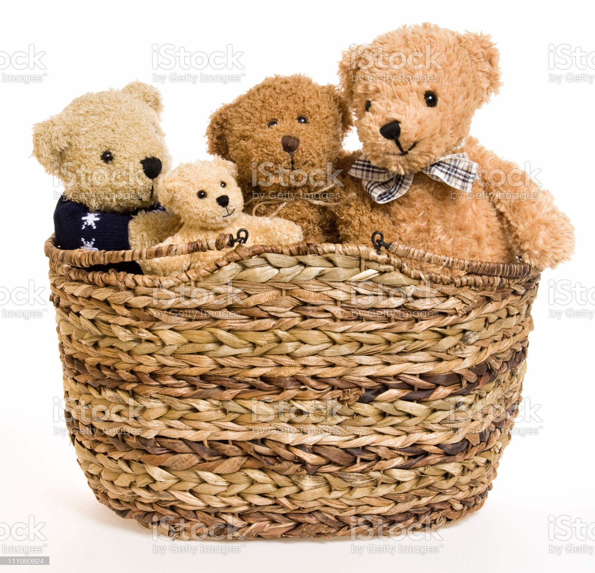 Teddy Bear Family in Picnic Basket royalty-free stock photo