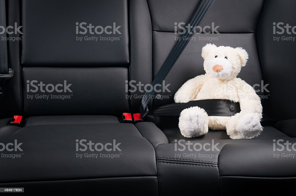 Teddy bear fastened in the back seat of a car stock photo