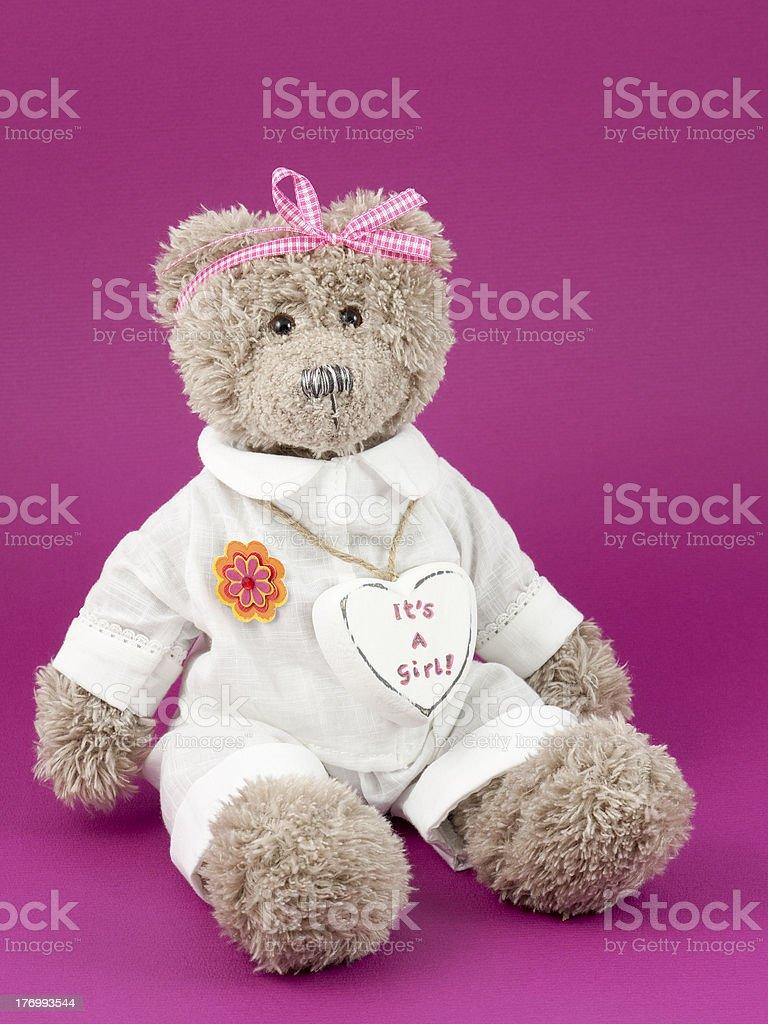 Teddy bear girl with a heart royalty-free stock photo