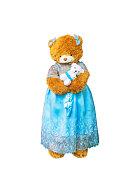 teddy bear holding a doll.