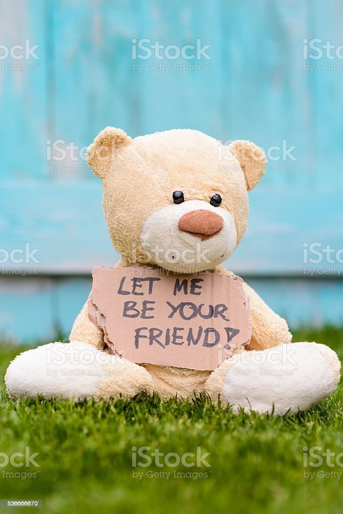 Teddy bear holding cardboard  Let Me be Your Friend stock photo