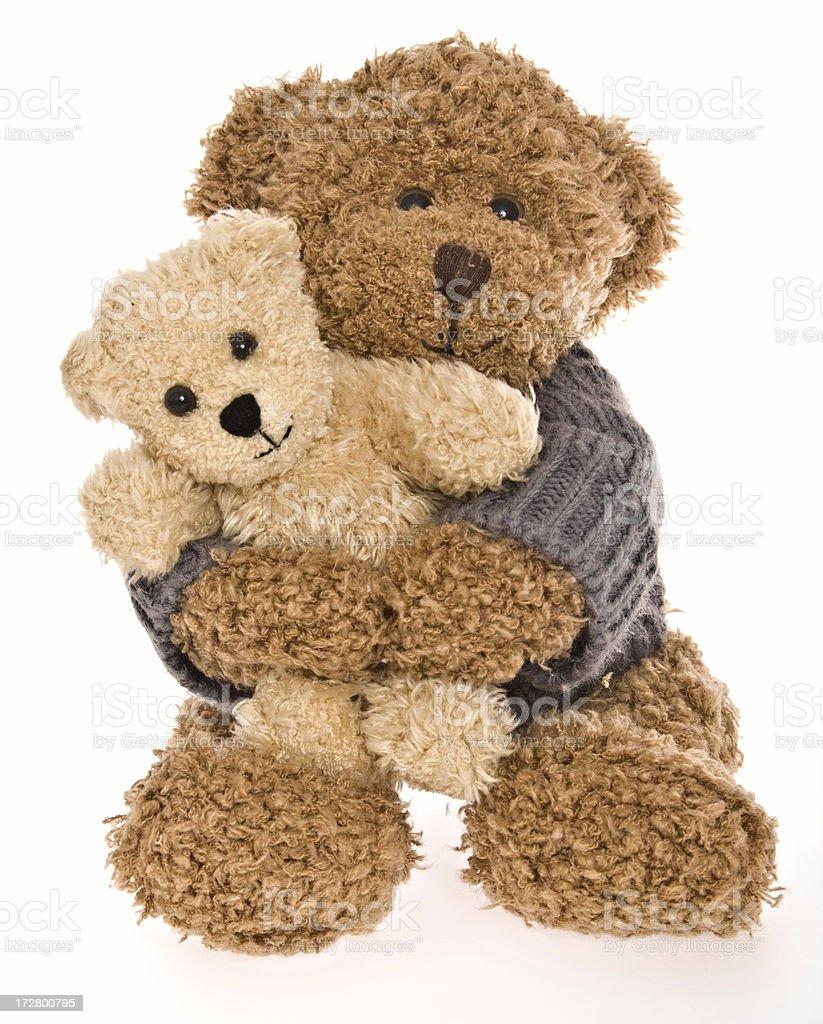 Teddy Bear Hug Isolated on White royalty-free stock photo
