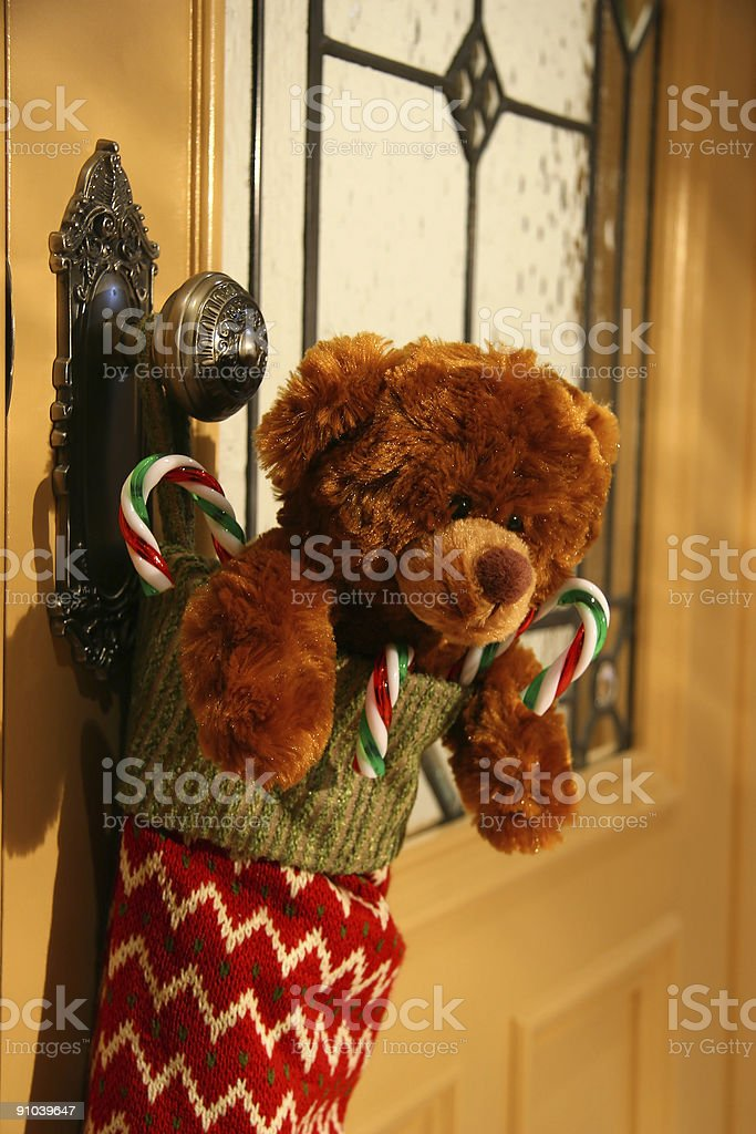 Teddy bear in stocking stock photo
