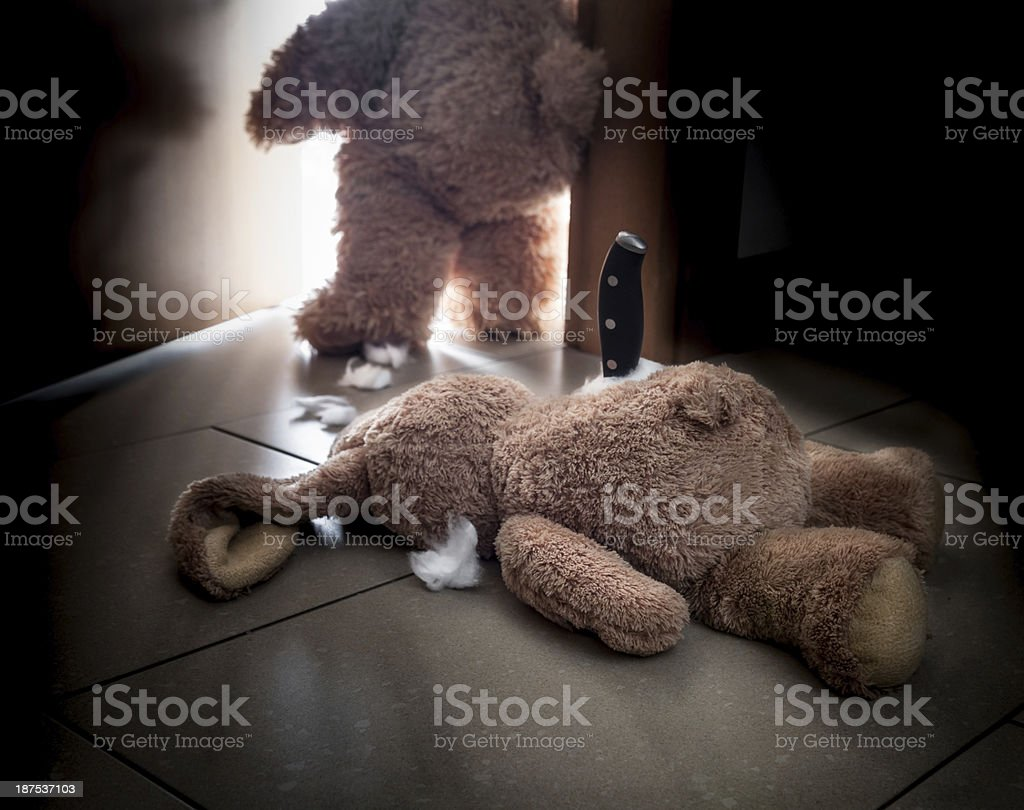 Teddy bear killer leaving crime scene royalty-free stock photo