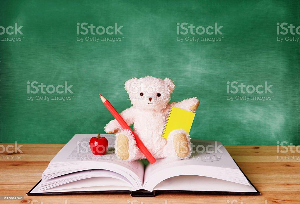 Teddy bear on books in front of blackboard. School. stock photo
