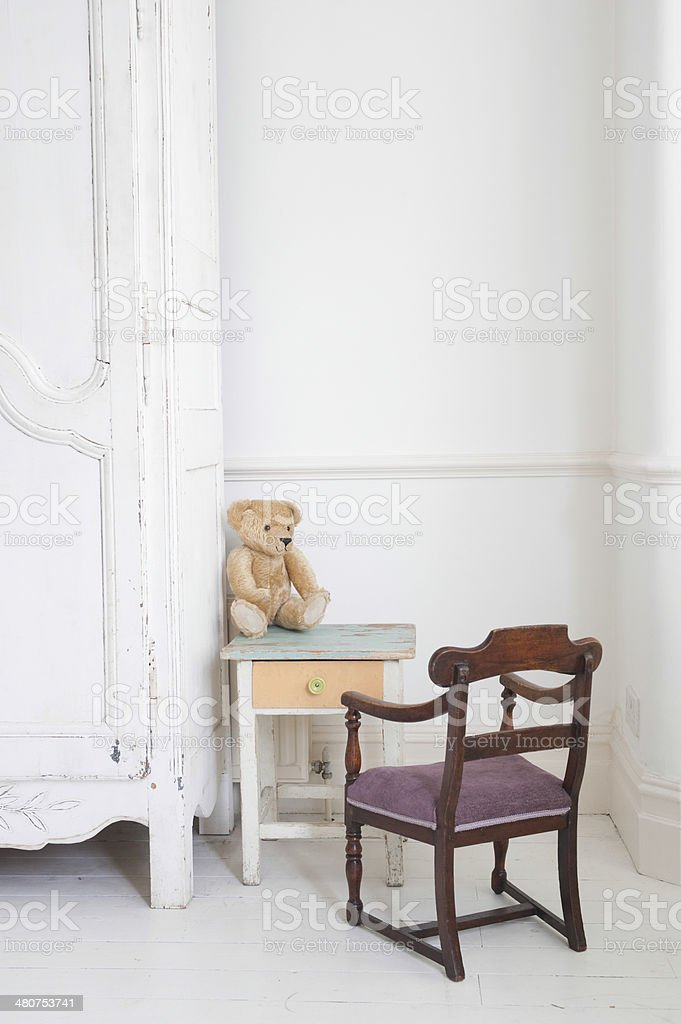 Teddy Bear On Child's Study Table royalty-free stock photo