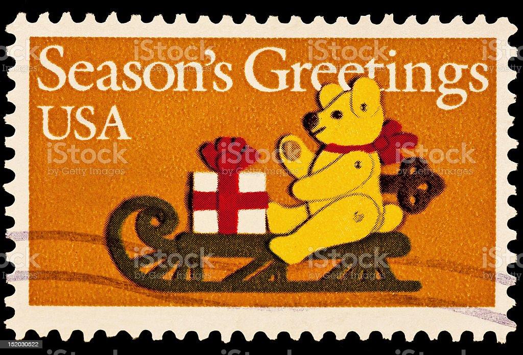 Teddy Bear on Sled Season's Greeting Issue royalty-free stock photo