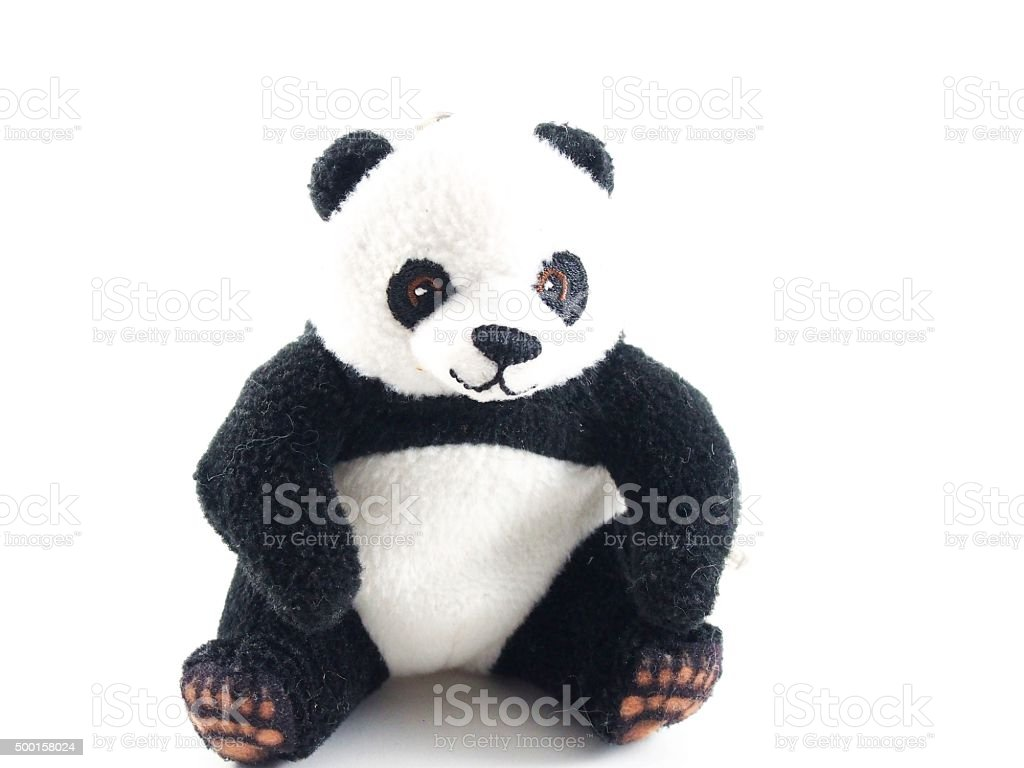 Teddy bear, panda doll, black rim of eyes stock photo
