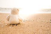 Teddy Bear sitting on the beach - vintage tone