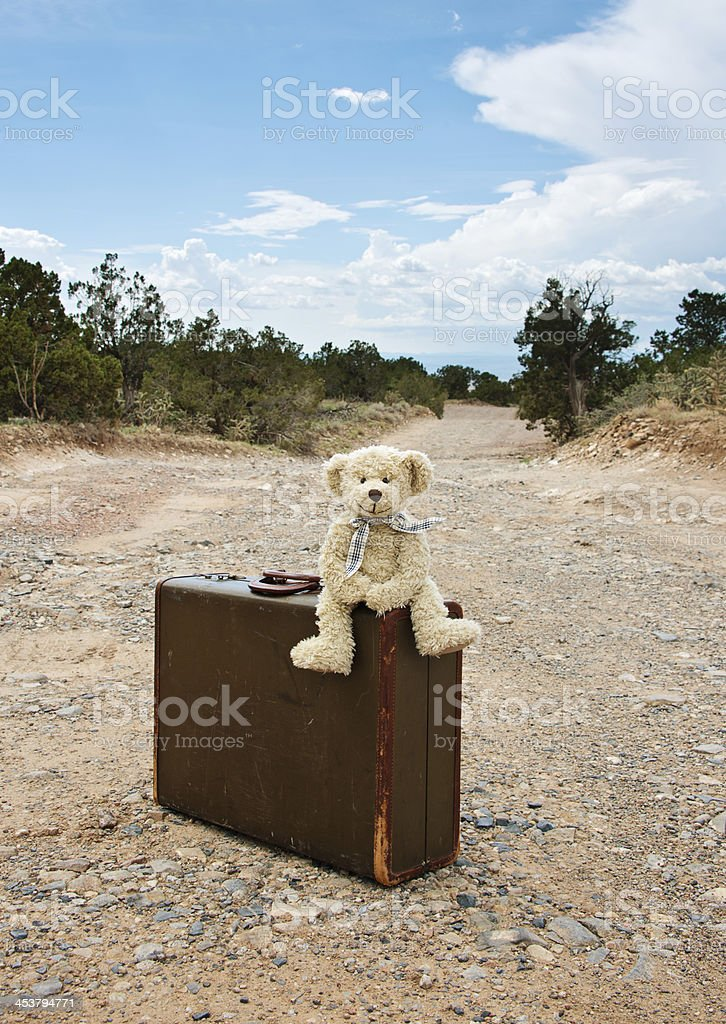 Teddy Bear Travelling, Old Suitcase on Dirt Road royalty-free stock photo