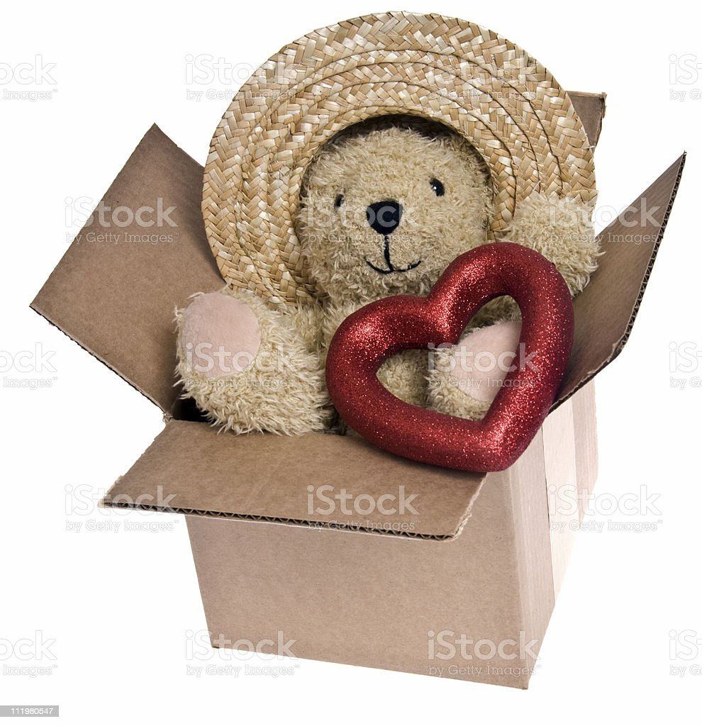 Teddy Bear Valentines. Clipping Path Included. royalty-free stock photo