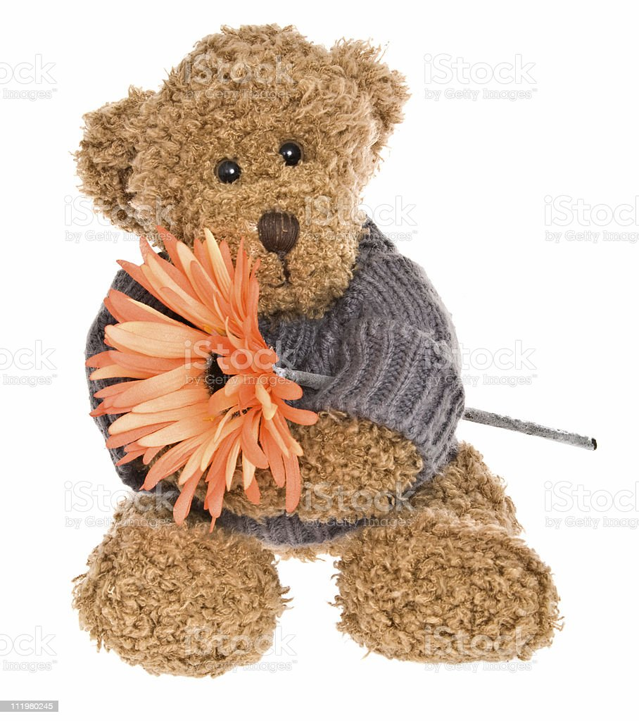 Teddy Bear with Happy Smiling Face Holding Flower royalty-free stock photo