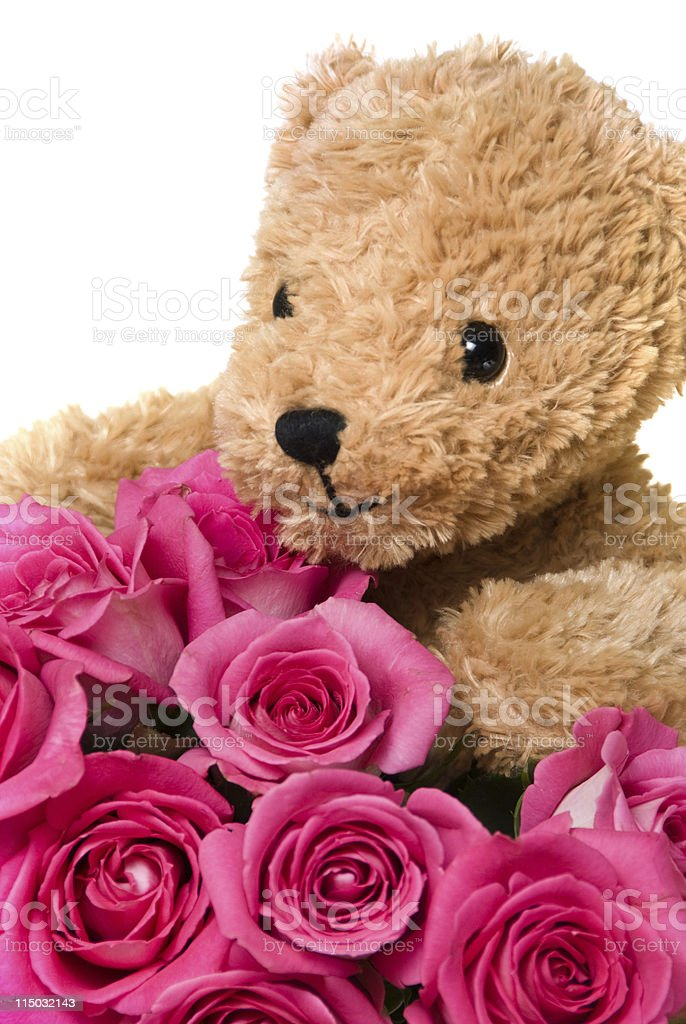 Teddy Bear with Happy Smiling Face Holding Roses royalty-free stock photo
