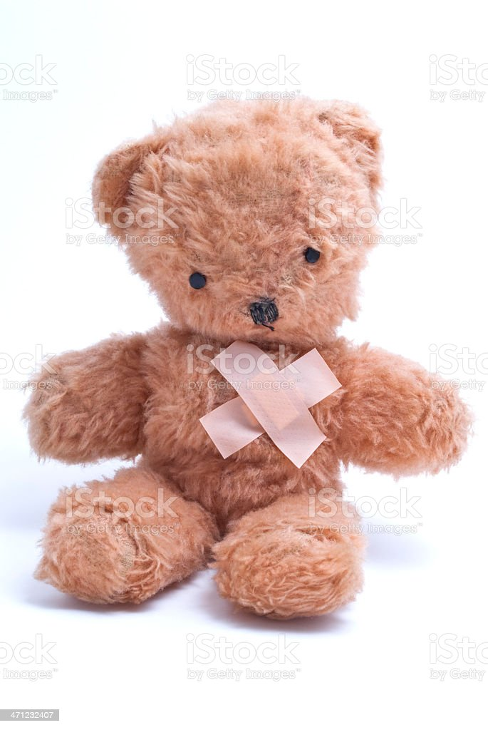 Teddy Bear with Injured Heart royalty-free stock photo