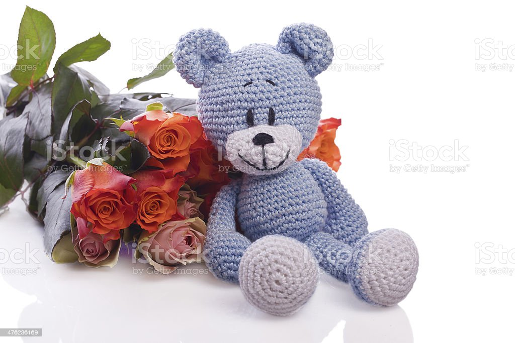 teddy bear with pink roses royalty-free stock photo