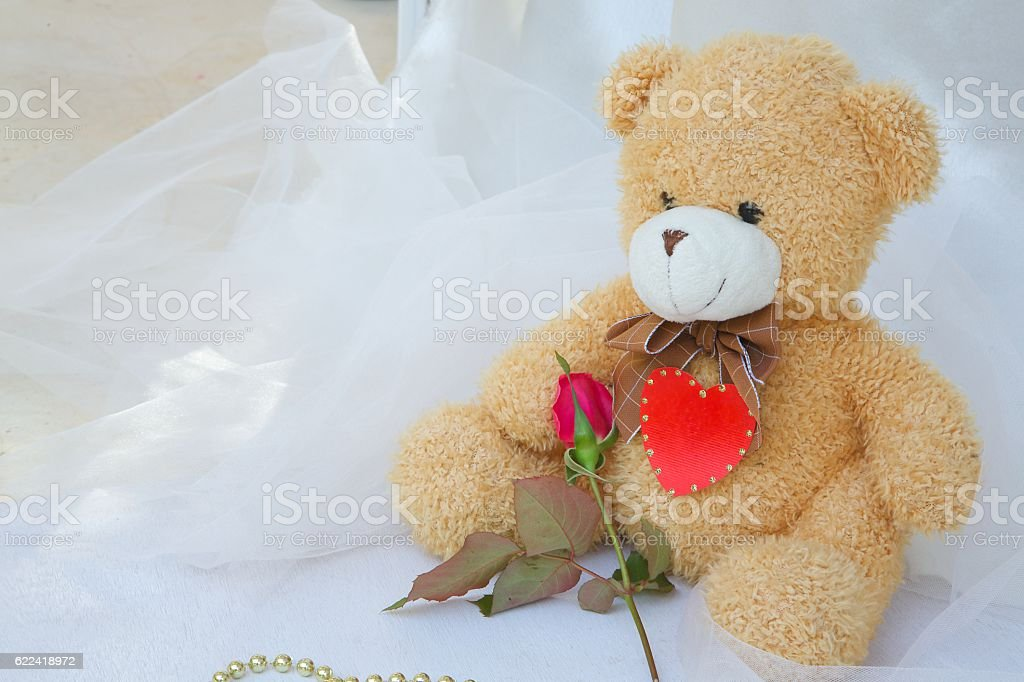Teddy bear with red heart and red rose stock photo