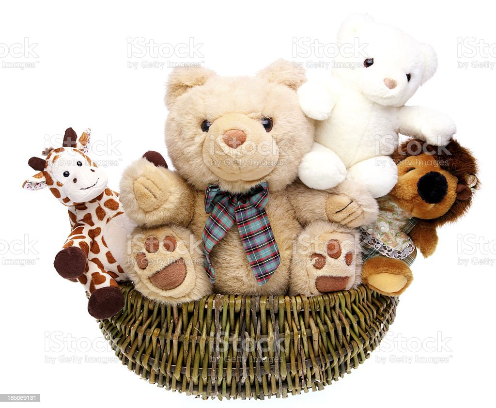 teddy bears in basket stock photo