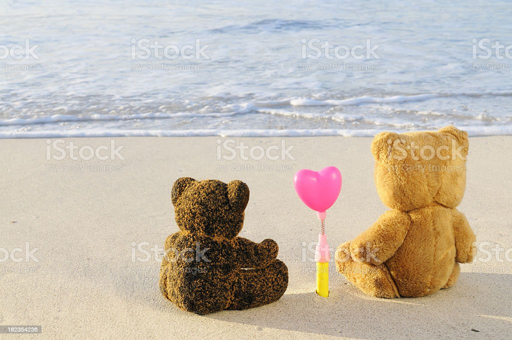 Teddy Bears in Love on Valentine's Day royalty-free stock photo